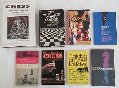 8 Books COMPLETE CHESS COURSE Reinfeld CHESS Psychiatrist Matches Wits PECCI + 6