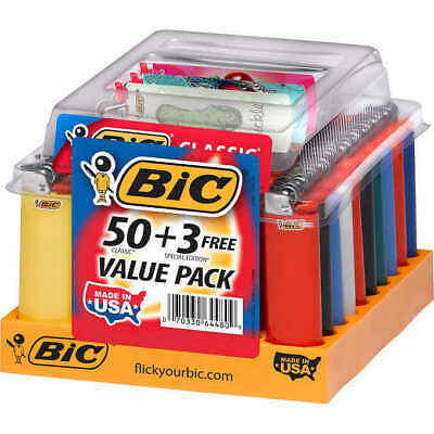 Bic Classic Maxi Lighters - Tray of 50 - Plus 3 Free Special Lighters
