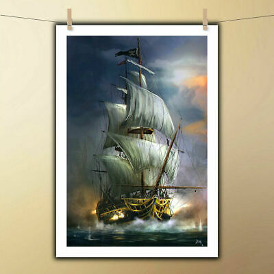 VV563   HD Art Print Disney Pirate Ship Oil Painting on Canvas Home Wall Decor