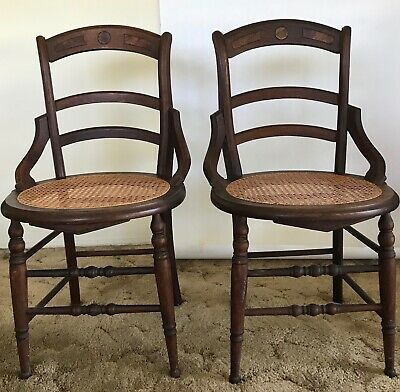 Antique Carved Walnut Parlor Occasional Arm Chairs Cane Seat Burl Accent