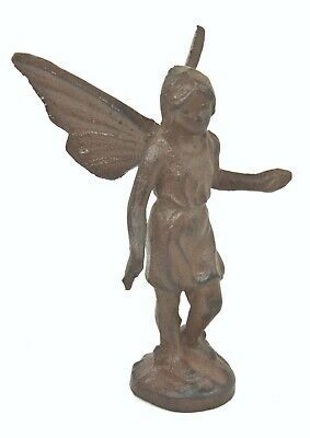Playful Fairy Garden Statues Cast Iron Angle PIxie Fairy Girl with Wings