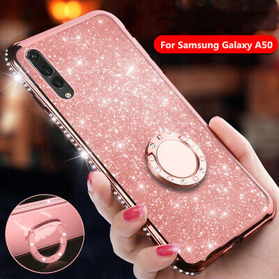 For Samsung A70 A30 A50 A20 Case Bling Diamond Ring Holder Rubber Stand Cover