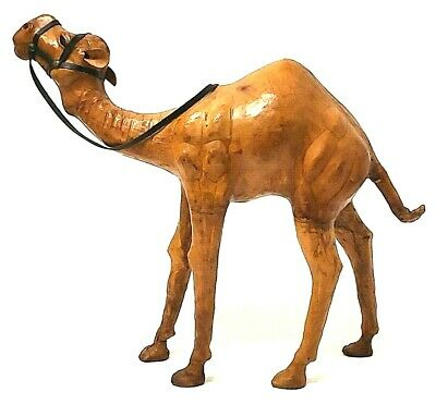 """Leather Wrapped Decorative Camel Figure 12"""" x 14.5"""" Statue Glass Eyes"""