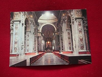 Vintage Postcard - Interior of St. Peter's Basilica