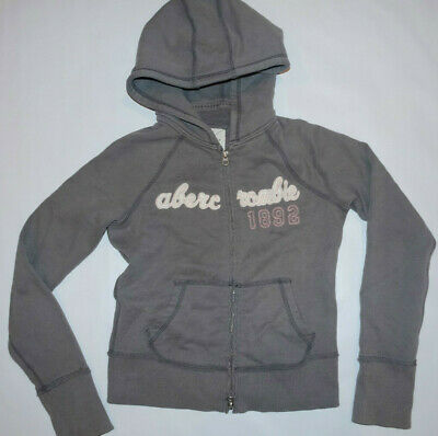 Abercrombie & Fitch AF Kids YOUTH Zip Up Hooded Sweater Hoodie Sz XL Gray GREY