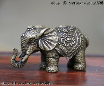 Chinese Pure Bronze Copper Lucky Elephant Feng Shui Animal Wealth Statue T068