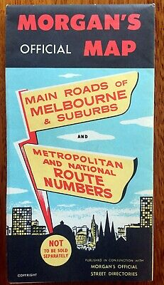 Old Collectable MORGANS Main Roads of Melbourne Map