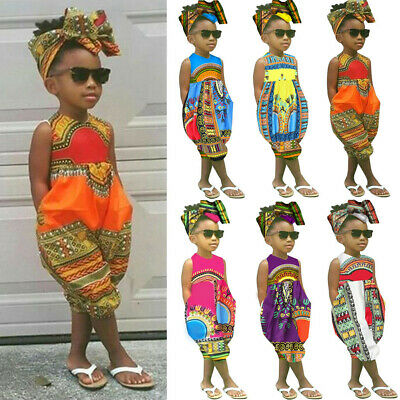 Toddler Kids Baby Girl Outfit Clothes African Print Sleeveless Romper Jumpsuit W