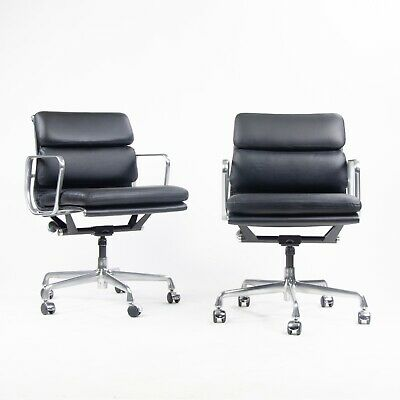 NEW Old Stock Eames Herman Miller Low Soft Pad Aluminum Desk Chair Black Leather