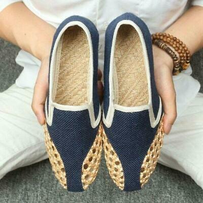 Mens Chinese Woven Hemp Hollow Slip On Loafers Gommino Oxford Sandals Shoes Chic