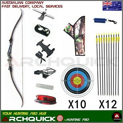 Archery Recurve Bow Set Q102 Takedown 68 Inch Target & Hunting Shoot RH Package