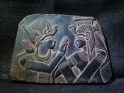 EGYPTIAN ANTIQUE ANTIQUITY Ramses Embraced Isis Stela Stele 2700-2300 BC