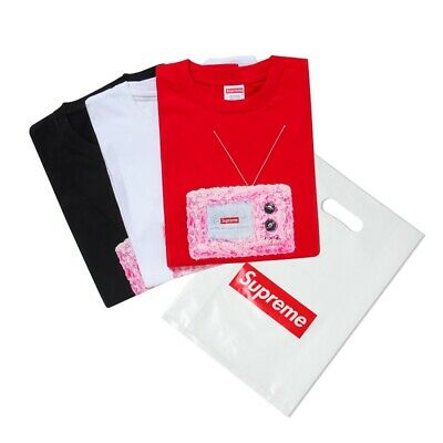d52e8334dfd1 New SUPREME TV Print Tee Black/red/white SS18 Television Graphic T-Shirt