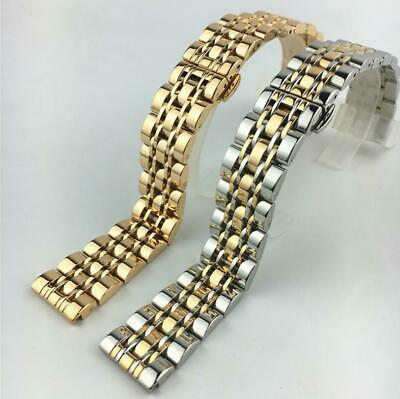 Curved Stainless Steel Solid Bracelet Clasp Replacement Watch Band Strap 12-24mm