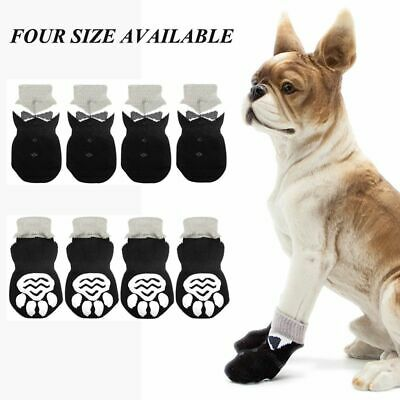 4pcs/set Knitted Non-Slip Dog Socks Protective Paw Print Pet Puppy Shoes