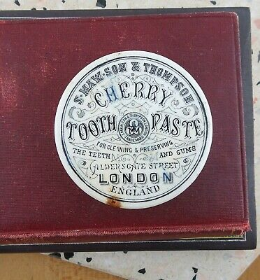Antique Cherry Tooth Paste S. Maw Son & Thompson Ceramic Pot Lid