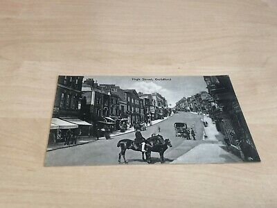 Early 1900s Postcard High Street, Guilford - Man on Horse