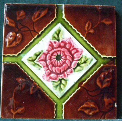 "Original 6"" x 6""  Antique Relief Moulded Majolica Floral Tile"