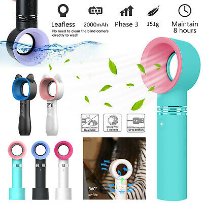 Portable Bladeless Hand Held 360 Degrees Cooler Mini USB Cable No Leaf Handy Fan