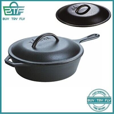 Cast Iron Skillet For Frying Baking Soup LODGE Chicken Fryer Deep Pot Pan Lid