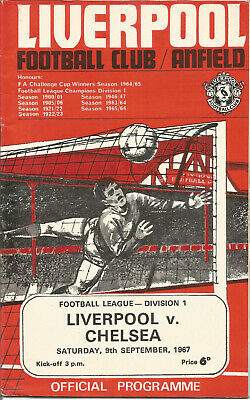 Official Football Programme Liverpool vs Chelsea At Anfield 9th Sep 1967 F1390