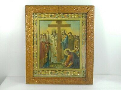 Antique Russian Religious Art Work Print 1899 Icon Framed
