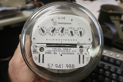 Westinghouse Electric Watthour Meter Kwh I-70S 240V D45 200A 4 Lug Single Stator