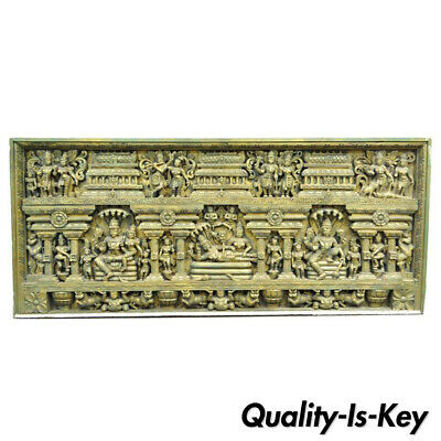 Large 19th Century Asian Thai Buddha Temple Carved Wood Architectural Panel Art