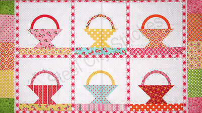 2 repeats 1-1//3 YD  Cotton Quilt Sew Fabric Lakehouse Flower Basket 102 Panel