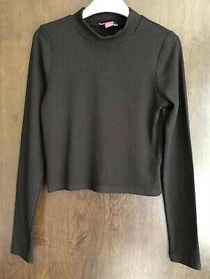 Primark Black Long Sleeved Ribbed High Neck Top Age 12-13 Years
