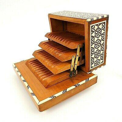Vintage Inlay Wood Music Cigarette Moroccan Stash Box Bone & Mother of Pearl