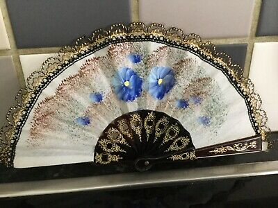 Hand Held Folding Fan Hand Painted Detail Plastic And Material Retro