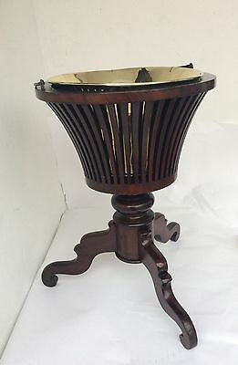 Antique Edwardian Style Inlaid Mahogany Basket Wine Cooler Or Plant Stand