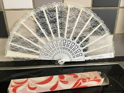 Stunning Hand Held Fan In Original Box Plastic And Lace Retro