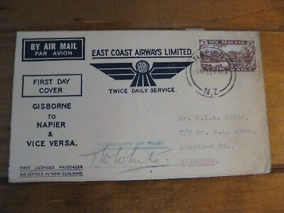 New Zealand 1935 First Day Of Passenger Flights - SIGNED By Pilot (T.W White)