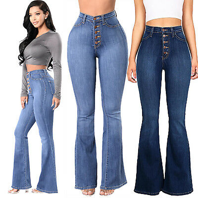 b611ba5ed529 Women Vintage High Waist Flared Bell Bottom Jeans Light Denim Trousers 70s  Pants