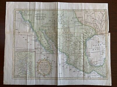 1795 Map of New Spain/Mexico by Thomas Kitchin, London