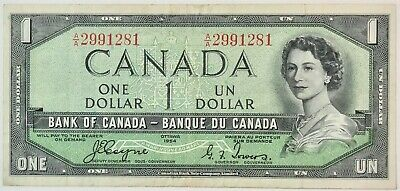 1954 Bank of Canada $1 Devils Face A/A Prefix  #35676