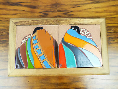 Vintage Original Hand Painted Dolona Roberts Tile Art Ceramic Western Accent