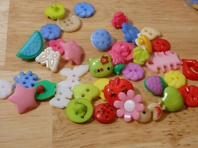 100 pc Plastic Kids Craft Sewing Buttons, Mixed Shape Lot. USA Seller. Fast!