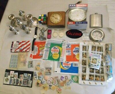 Vtg Junk Drawer Lot Sterling  Candles Salt Pepper Coins Stamps Clocks & More