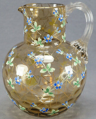 Antique Moser Bohemian Amber Glass Enameled Floral Inverted Thumbprint Pitcher