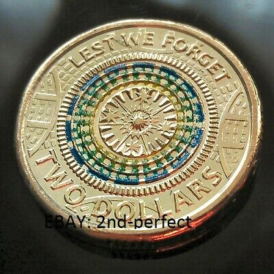 2017 $2 Anzac Coloured Coin - Lest we forget - UNC