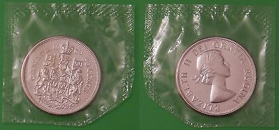 1963 Canada Silver Coat of Arms Half Dollar Sealed in Cellophane