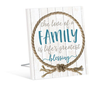 French Country Standing Art Wooden Rope Family Blessing Wood Sign New