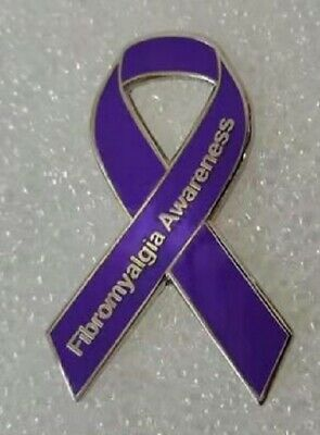 ***NEW*** Fibromyalgia Awareness ribbon enamel badge / brooch. Pain, Charity.