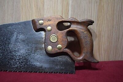 Vintage Henry Disston & Sons Thumbhole  D8  28 inch Rip Saw Woodworking Old