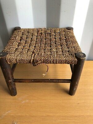 Vintage & Rustic Small Stool with  Wood Legs & String Top - 9 Inch High TLC