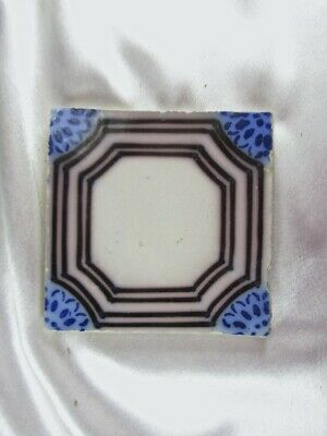 FRENCH ANTIQUE DESVRES PAS DE CALAIS ART NOUVEAU FLOW BLUE & BROWN TILE c.1870s