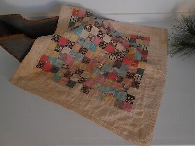 Antique Authentic Large Doll Quilt Early Textile HAND SEWN & NOT a cut down AAFA